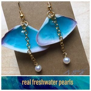 Ocean in a Shell Earrings Resin, Shell, and Pearl